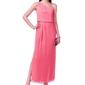 NWT One Shoulder Pink Chiffon Drape Gown